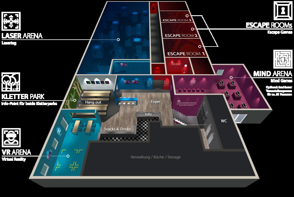 Die Gebäudeübersicht zeigt die einzelnen Erlebnis-Bereiche